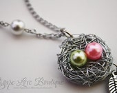 """Custom Made Birds Nest NecklaceYou Pick Colors and amount of Pearls """"eggs"""" (1-4 Max)"""