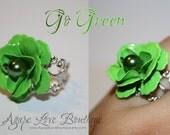 Go Green Enameled Flower Filigree Ring (Vibrant Ring Collection)