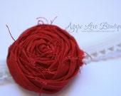 Red Rosette Headband - (Newborn Infant Size)