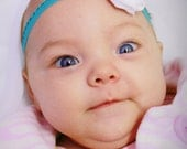 White and Teal Rosette Headband - (Newborn Infant Size)