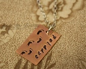 Hand Stamped Carried Necklace - Footprints in the Sand