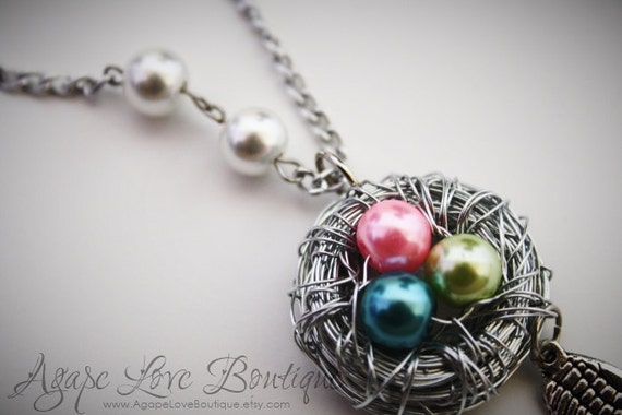 "Custom Made Birds Nest NecklaceYou Pick Colors and amount of Pearls ""eggs"" (5-8 Max)"