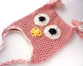 Owl Baby Hat in Light Pink