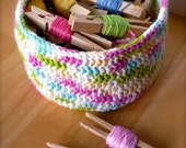 Crochet Basket - Multicolor Rainbow Storage Bowl