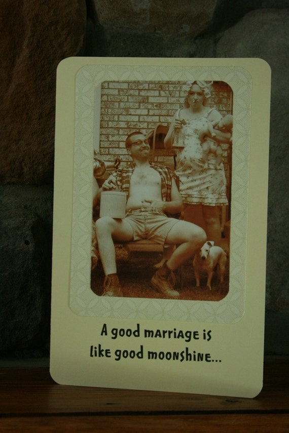 Hillbilly marriage-greeting card-anniversary-love-hillbilly card-redneck card-old photo-family photo card-wedding-engagement