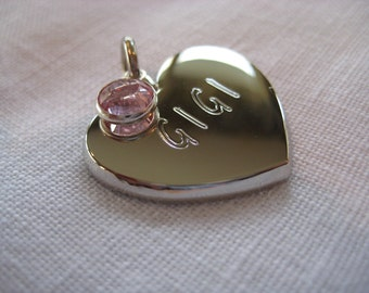 Pet ID Tag- Heart With Crystal ( gold or silver finish)