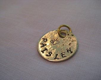 Pet ID Tag-Textured Brass Hand stamped Paw