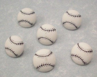 Buttons Baseballs Black and White  - DIY Supplies on Etsy