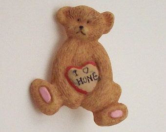 Bear Buttons I Love Honey Hand Painted Teddy - Set of 4