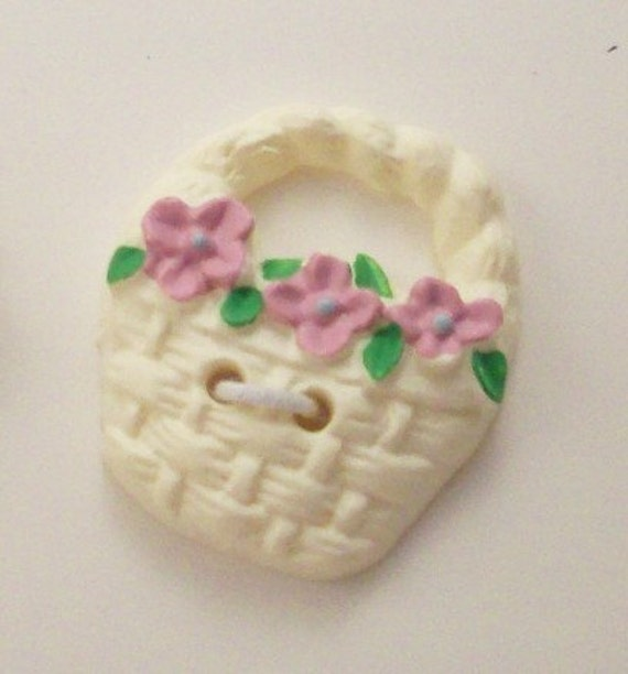 Floral Buttons Basket of Pink Flower Blossoms - DIY Supplies on Etsy