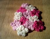 12 Crocheted Light Pink/Soft White/Pink Mini-Flowers