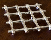 Silver Plated Bamboo Trivet