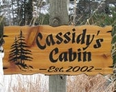 """Personalized Cabin Signs - Routed Wood Signs - Cedar Cabin Signs - Carved Wooden Signs - 22"""" x 10.25"""""""