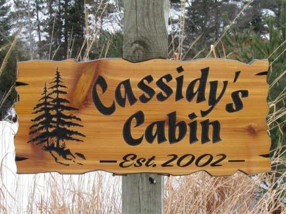 "Personalized Cabin Signs - Routed Wood Signs - Cedar Cabin Signs - Carved Wooden Signs - 22"" x 10.25"""