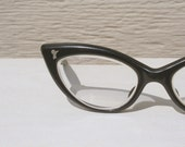 RESERVED FOR onelifetolive - 1950's Black Cat Eye Small Face Eyeglasses Angular, Child or Teenage Size by Rou Teen by Liberty