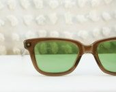 1960's Brown Squared Wayfarer Beach Sunglasses with Green Lens by Polaroid Cool Ray, Non Prescription