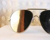 Mirror Lens 1970's Aviator Sunglasses Silver Wire Rim Non Prescription Dead Stock