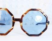 Octagonal Tortoise 1960's Sunglasses Sky Blue Lens Geometric Horn Rim, Ready to Wear Dead Stock
