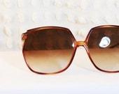 Slender Tortoise 1980's Oversize Sunglasses Squared Large Frame Carved Corner Non Prescription Fade Lens Frame France