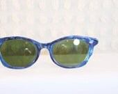 Blue Marble 1950's Cat Eye Sunglasses Wave Molded Cream Zyl Green Gray Lens Ready to Wear