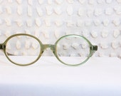 60s Green Glasses 1960's Round Eyeglasses Pearl Oval Slim Round Horn Rim Frame NOS 46/20 by Swan Optical