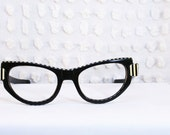 50s Cat Eye Glasses 1950's Womens Eyeglasses Horn Rim Black White 50/20 Mid Century Modern by Calobar Optical