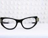 50s Cat Eye Glasses 1950's Horn Rim Eyeglasses Black White Stripe Vertical Mid Century Modern by Calobar Optical - THAYEReyewear