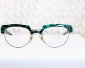 80s Glasses 1980s Browline Eyeglasses Green Tortoise Combination Gold Wire Rim 54/23 Optical Frame