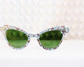 RESERVED -  50s Sunglasses 60s Glitter Sun Glass Frames Unique Eccentric Blue Bronze Optical Frame 48/24