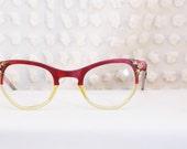 50s Womens Cat Eye Glasses 1950s Eyeglasses Raspberry Clear Split Frame Gold Flower Metal Applique 48/25 Victory Optical