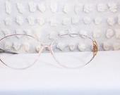 Vintage 80s Glasses Diagonal Plaid 1980's Clear Eyeglasses Oversize Oval Silhouette Optical Printed Gold Cross Hinge 54/12 Frame