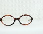 1960's Oval Eyeglasses Tortoise Brown Amber Horn Rim Frame New Old Stock Larger 48/21 Size by Kono Optical