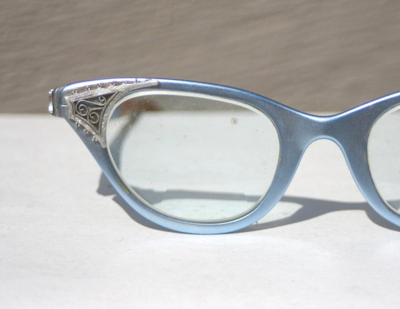 Tura Blue Cat Eye 1950s Eyeglasses Silver Filigree by ...