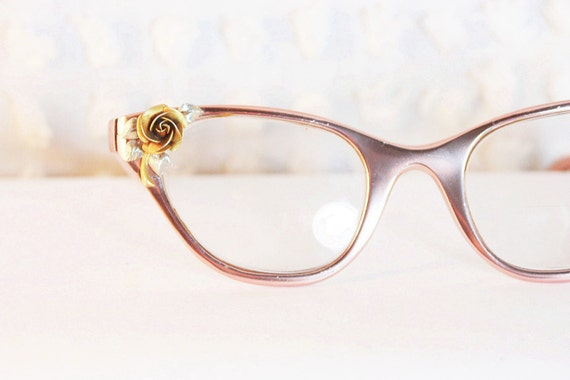 Tura Pink Cat Eye 195039;s Eyeglasses Aluminum Gold Rose Applique