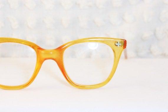 Large Frame Prescription Safety Glasses : Amber Squared Zyl 1950s Safety Eyeglasses Horn Rim by ...