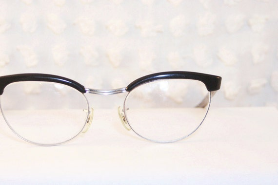 Wire Frame Cat Eye Glasses : Black Browline Cat Eye 1960s Eyeglasses Oval White by ...