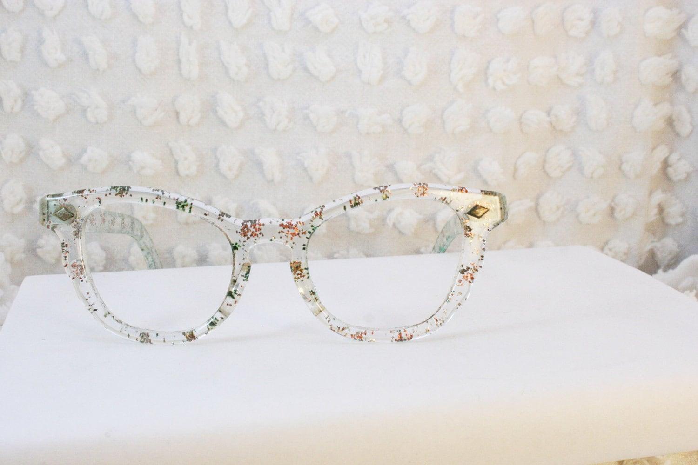 Sparkle Cat Eye 1950s Glitter Eyeglasses Clear Horn by ...