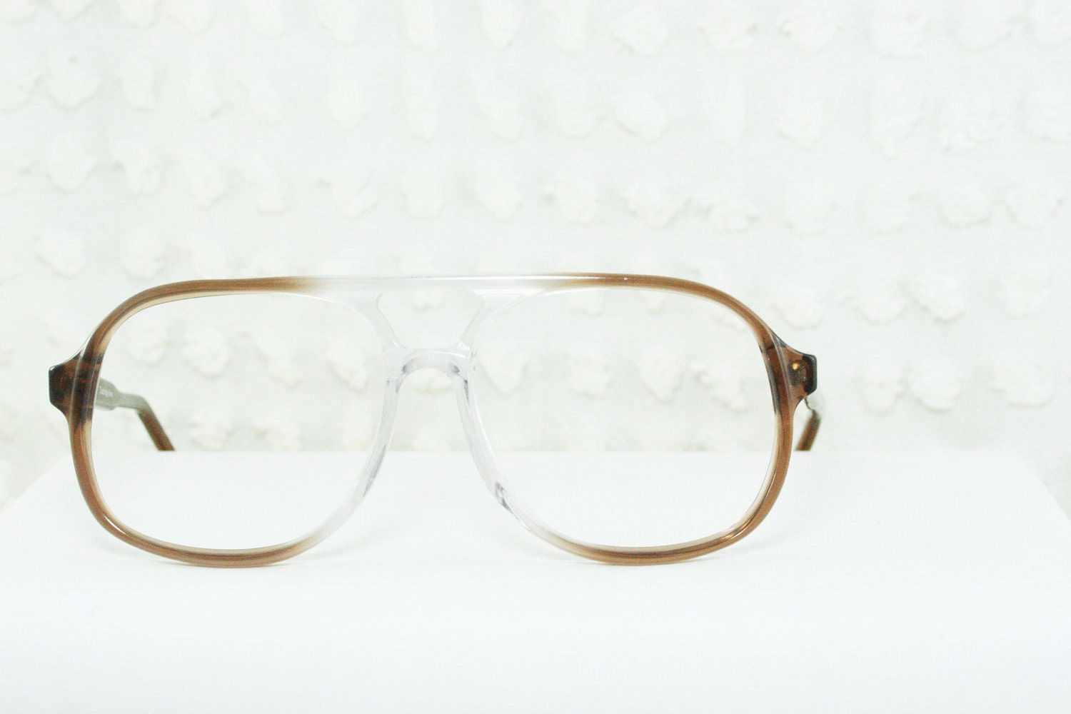 1980 s aviator eyeglasses clear to brown fade by