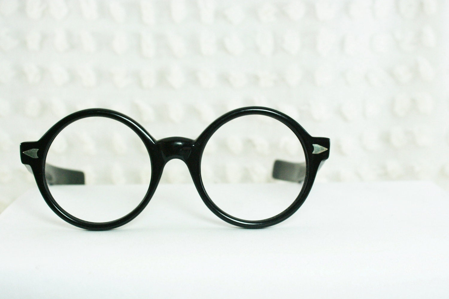 Thick Frame Glasses For Round Face : Vintage 60s Glasses 1960s Round Eyeglasses Black by DIAeyewear