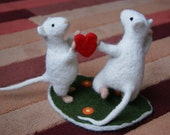 Dancing mice, cake topper, felted mouse