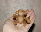 Super Jungle animals - felted Monkey,  Mini felted miniatures collectibles toys