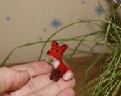 Felted fox, fox miniature, miniature animal, fox, cake topper, natural wool toys, wild animals miniature, red fox, cute fox