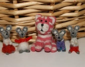 Needle felted super cute mini guys - Bagpuss cat and 4 little mice