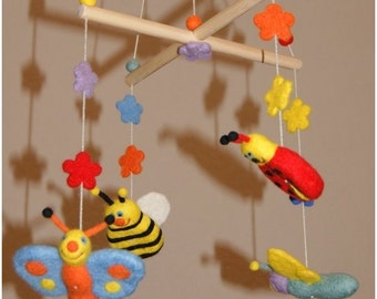 Felt mobile, baby mobile, cot mobile, natural baby toys, summer field wonders mobile, felted wool mobile,