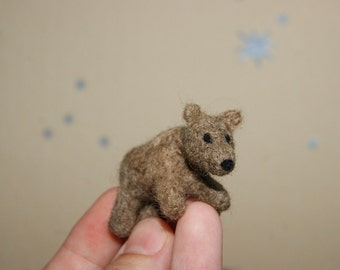 Felted bear, felted miniature, felted toy, super tiny, neddle felted bear, brown bear, soft sculpture, wild animals miniature