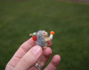 Super tiny felted hedgehog  - woodland tale