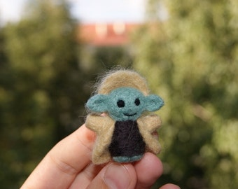 Felted Star Wars Yoda, felted toy, natural wool toy, needle felted toy, Yoda toy