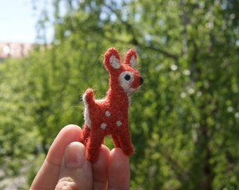 Felted cute deer miniature - felted wild animals - MADE TO ORDER