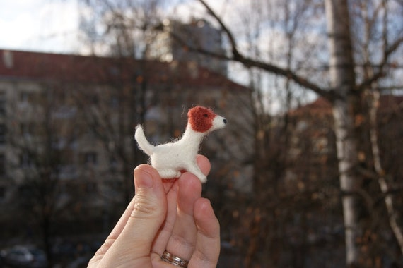 Needle felted dog miniature - cute mini Jack Russell - tiny soft sculpture