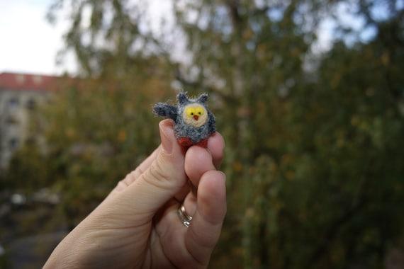 Felt owl, baby owl, super tiny, needle felted Owl, mini birds, felted birds, natural wool toys, felt toy